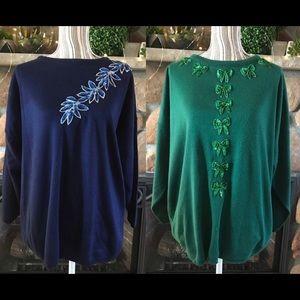 SET OF 2 United States Shiny Sweaters
